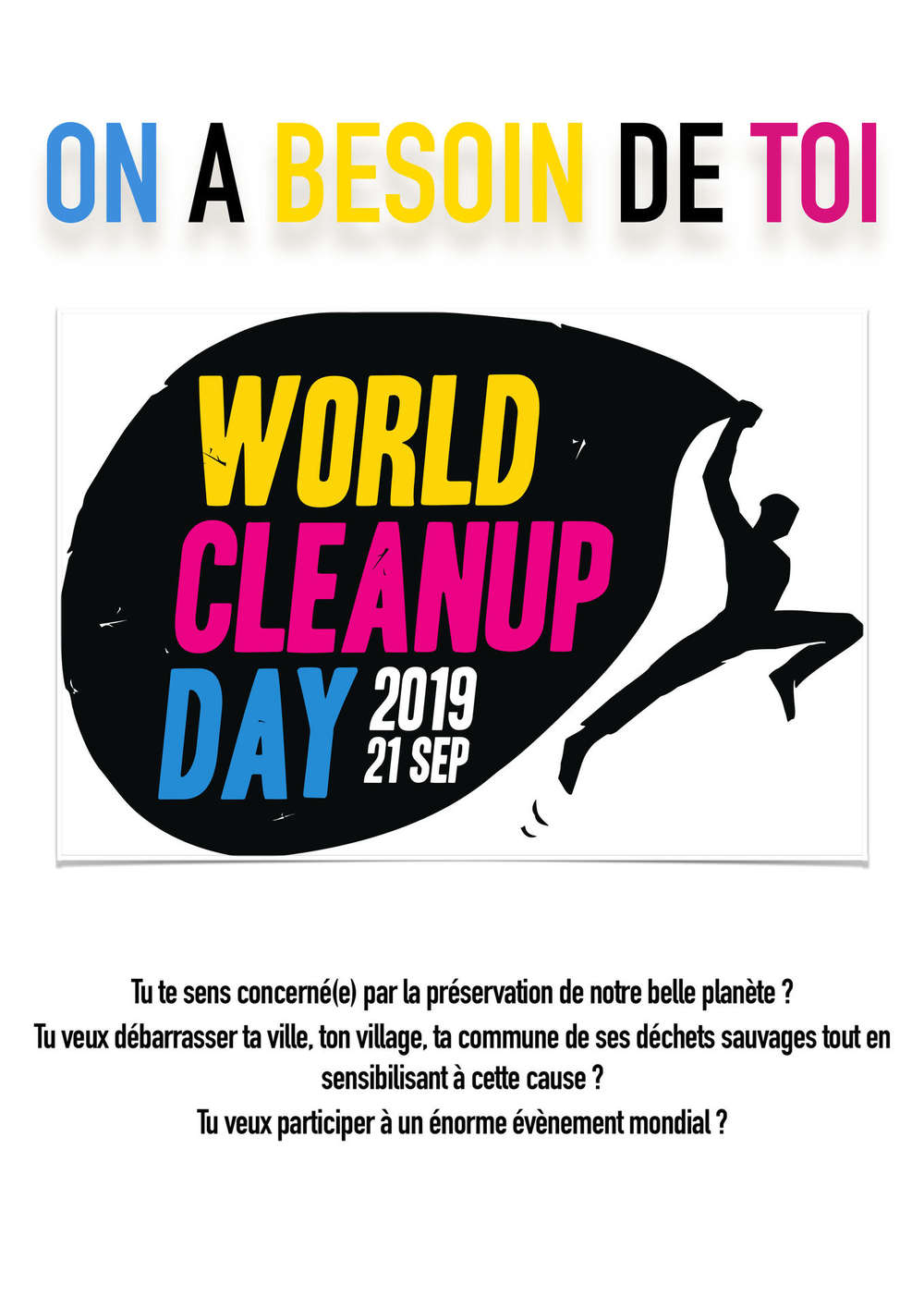 Affiche recrutement bénévoles World Clean Up Day 2019